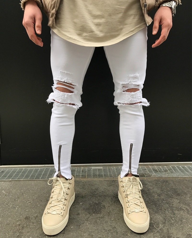 2017 New Hole patch men skinny biker jeans new fashion hip hop style Ripped elastic zipper denim pants Motorcycle white jeans цены онлайн