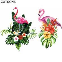 ZOTOONE Pretty Big Flower Flamingo Patches Iron on Transfer for Clothing T Shirt Beaded Applique Clothes Decoration E