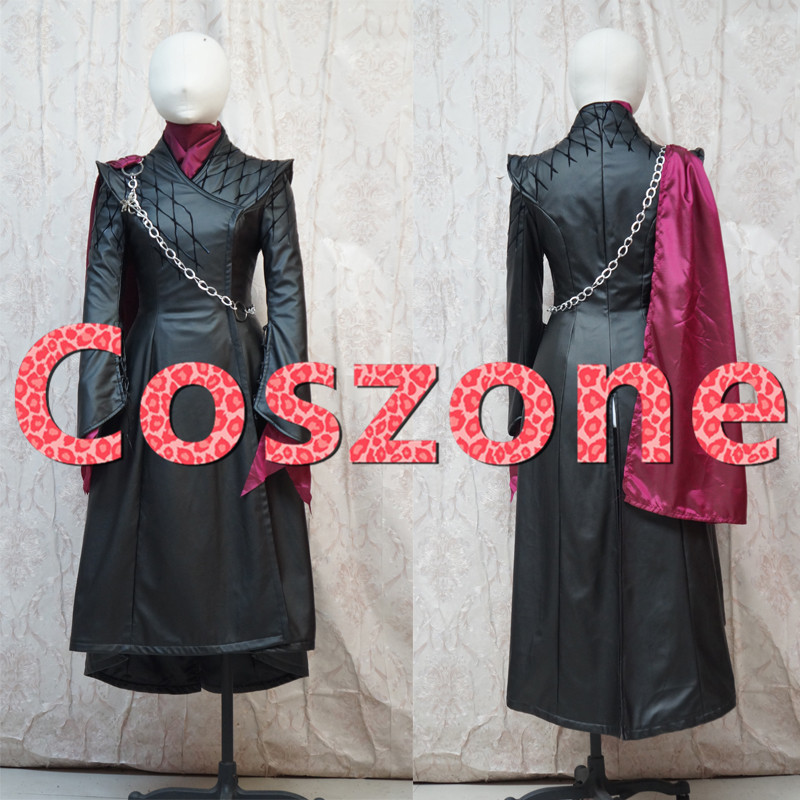 2019 New Game of Thrones Season 8 Daenerys Targaryen Cosplay Costume Trench Coat Jacket With Brooch