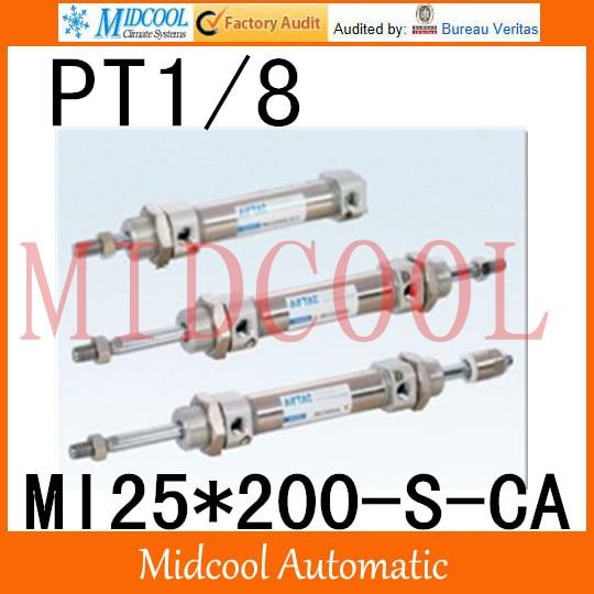MI série ISO6432 Mini cylindre en acier inoxydable MI25 * 200-S-CA alésage 25mm port PT1/8