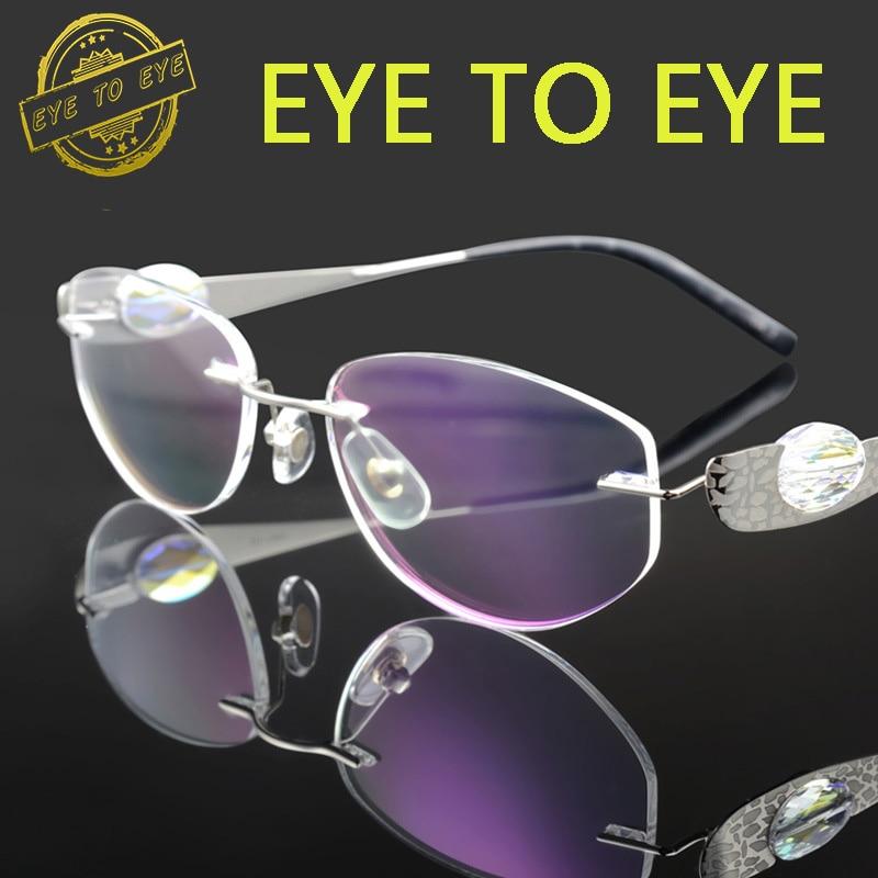 035b6186fb8f Luxury woman glasses frame titanium flex crystal clear eyeglasses fashion  brand designer diamond rhinestone rimless 1709 quality-in Eyewear Frames  from ...