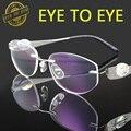 Mujer de lujo de titanio gafas marco flex crystal clear rhinestone del diamante sin montura de gafas de moda diseñador de la marca 1709 de calidad