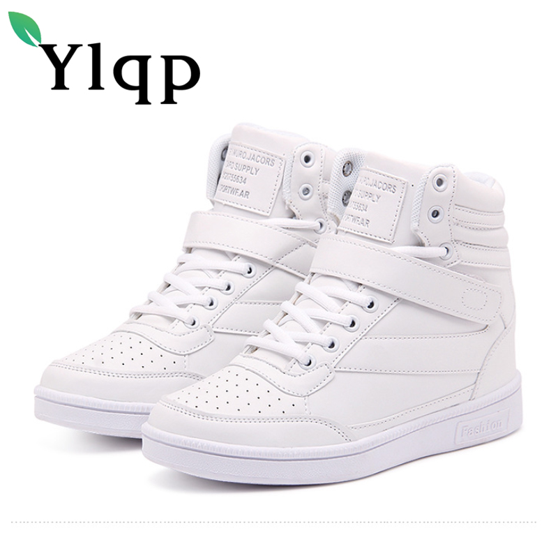 Ylqp Women Wedges Causal Shoes Woman Breathable Platform High-rise Shoes 2018 Spring White Student Sneakers Zapatillas Mujer