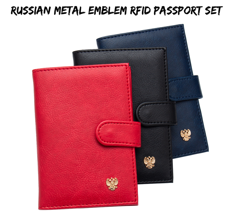 Russian Buckle Metal Double-headed Eagle Pu Leather Card Holder Bag Travel Built In Rfid Blocking Protect Personal Information Back To Search Resultsluggage & Bags