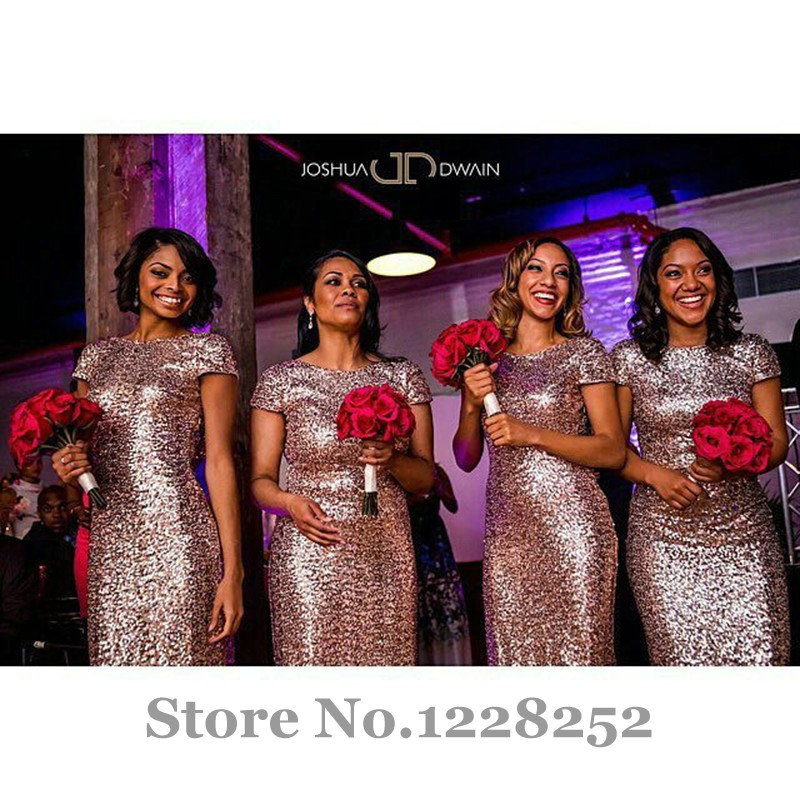 Champagne Gold Long Bridesmaid Dresses Sequined Short Sleeve Floor ...