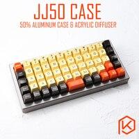 Caso de alumínio anodizado para jj50 50% personalizado teclado acrílico painéis difusor acrílico jj40 suporte cinta giratória para preonic
