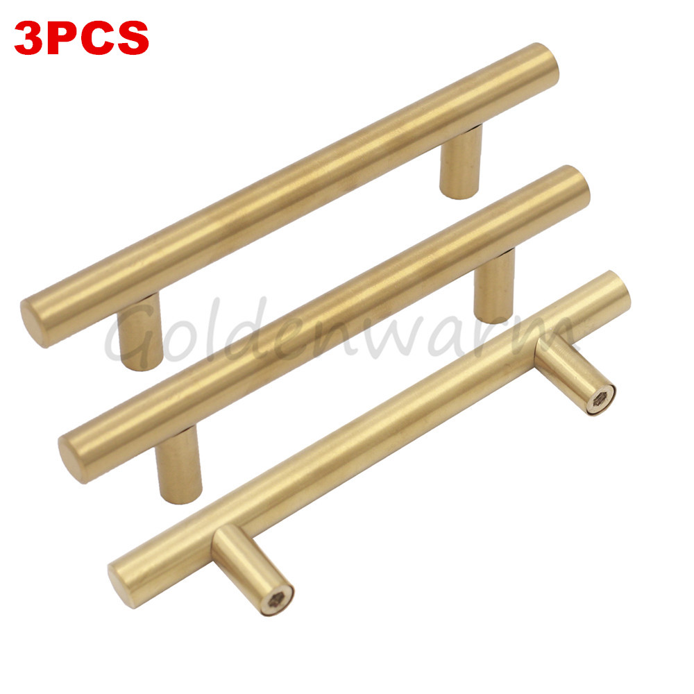 Brushed Br Gold Cabinet Pull Goldenwarm Hole Centers 96mm T Bar Kitchen Door Handles 3pcs