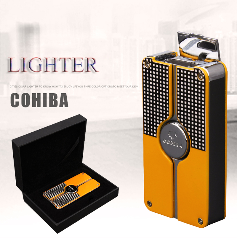 COHIBA Medal Cigarette Lighter 3 Torch Jet Flame Butane Cigar Smoking Accessories Refillable Gas Men's Gift With Cigar Punch