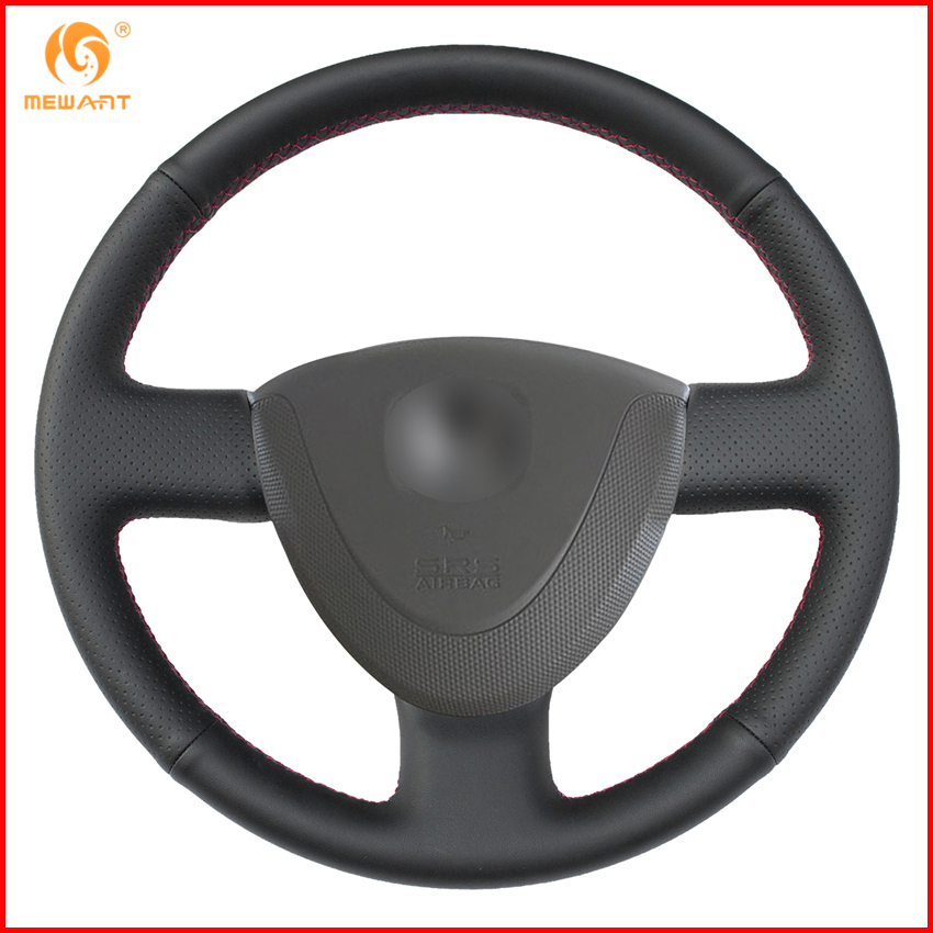 MEWANT Black Genuine Leather Car Steering Wheel Cover for Honda City 2002 2008 Fit Jazz 2001