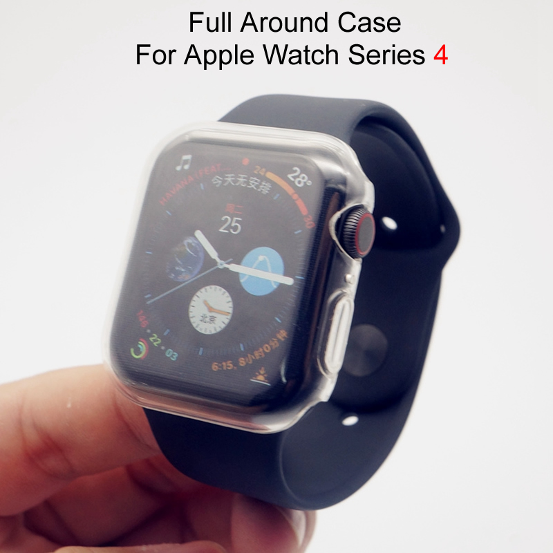 For Apple Watch Series 4 Clear Full Around Case TPU Frame Casing Cover iWatch Cases 40mm 44mm For Watch Series 4 Clear Frame nanox apple ipod nano watch conversion kit silver case clear strap