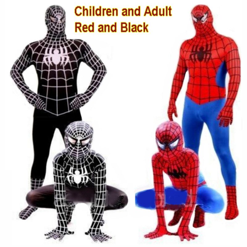 New Adult/children Red Black Spiderman Costume Lycra Superhero Costume Kids Spider-man Cosplay Halloween Clothing