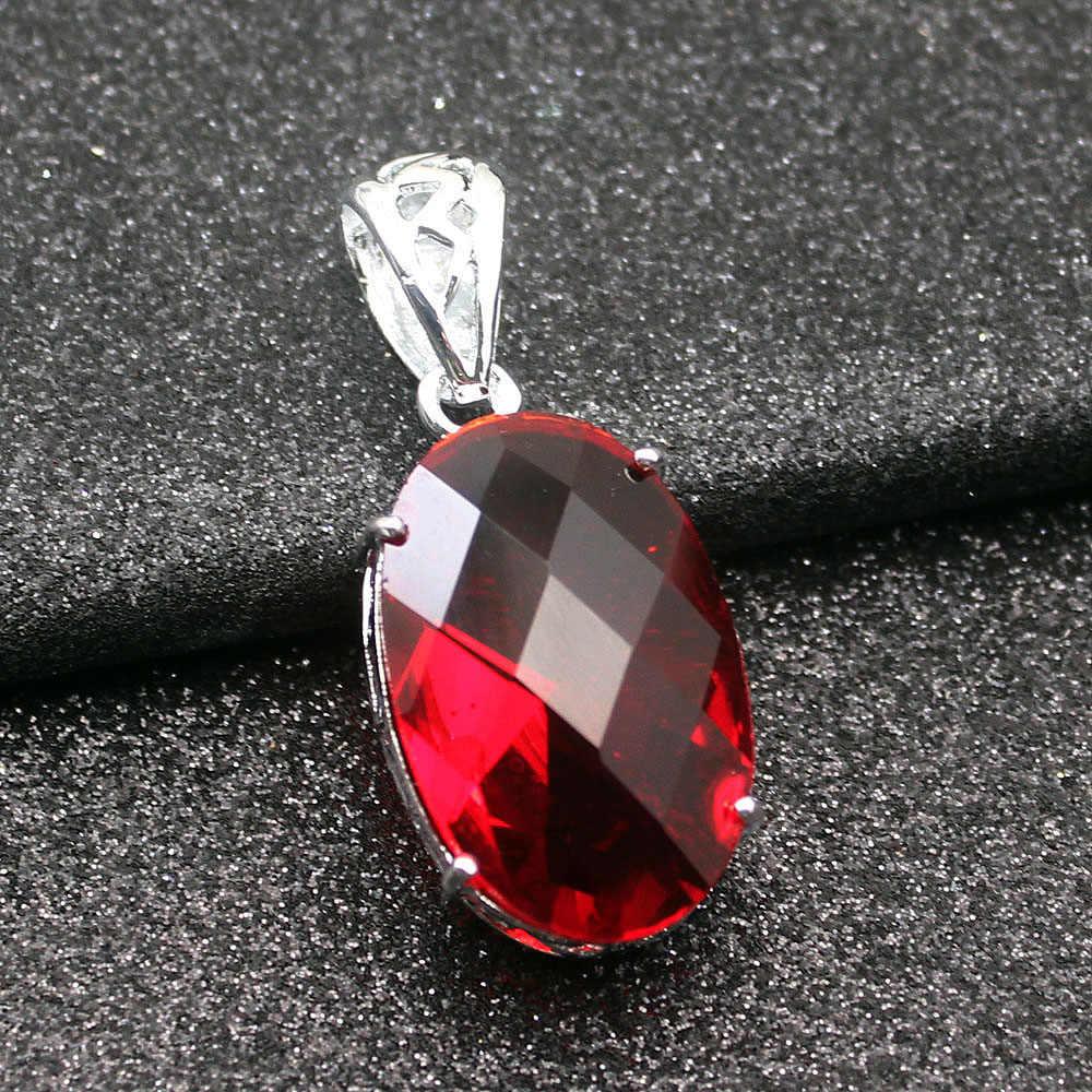 Queen เหลี่ยมเพชรพลอยสีแดง Garnet 925 เงินสเตอร์ลิง Charms สร้อยคอสร้อยคอ 20 นิ้ว