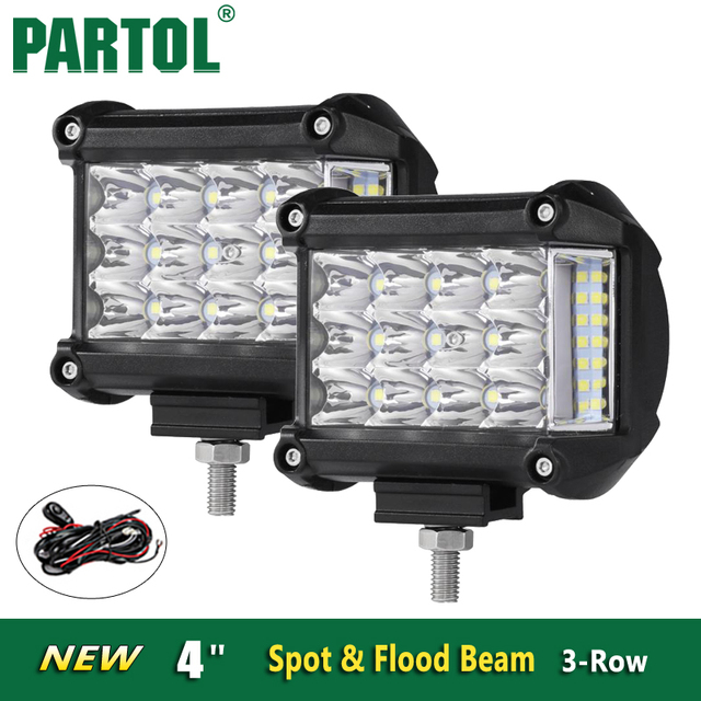 Aliexpress buy partol 4 led work lights offroad led bar partol 4 led work lights offroad led bar light spot flood led driving lamp headlight mozeypictures Choice Image