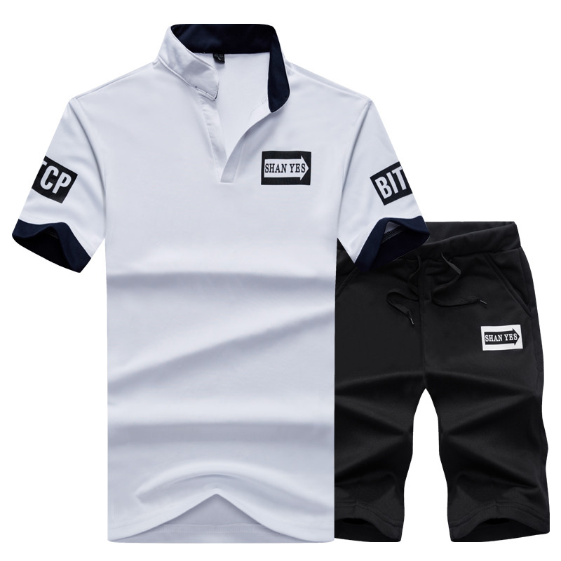 2 Pieces T-shirt Shorts Tracksuit Sport suits Set Men 2018 Brand Fitness Suits Summer 2PC Top Short Set Mens Stand Collar Fashion 5