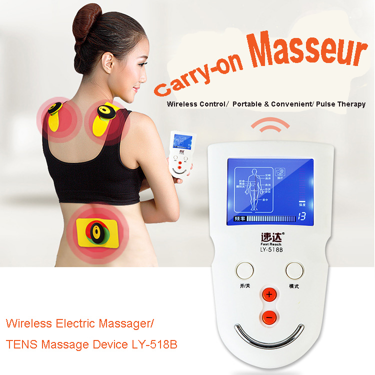 Wireless Electric Massage TENS Massager Device LY-518B Meridian Therapy Equipment Pulse Full Body Health Care Electrode Pads CE high electric potential therapy device high potential therapeutic equipment ce approved health care device110v 220v