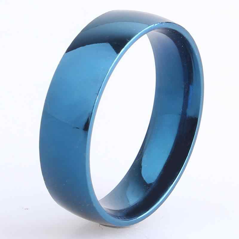 6mm blue Smooth 316L Stainless Steel finger rings for men women wholesale