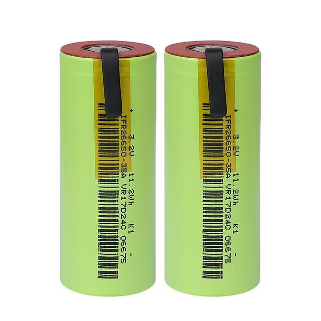 IFR 26650 35A LiFePo4 3500mAh 3.2V oplaadbare batterij 10 tarief ontlading met geschikt + DIY Nikkel lakens voor E  sigaret