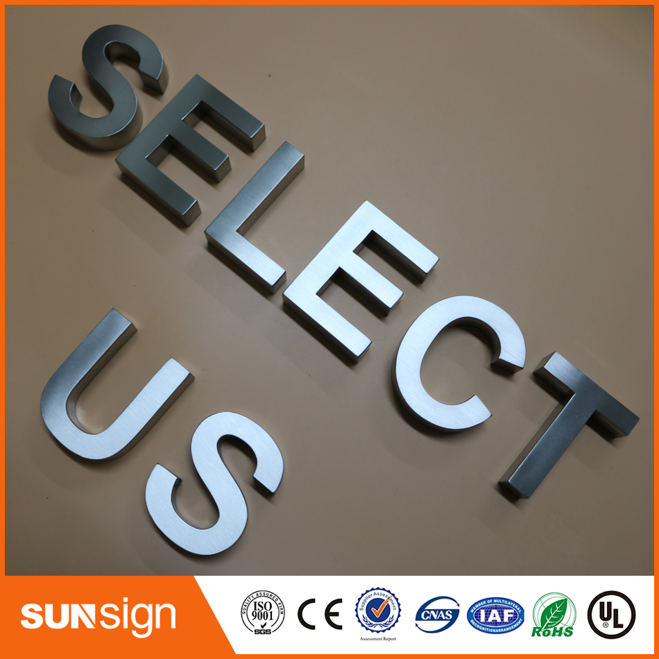 High Grade Brushed Chrome Silver Stainless Steel Letters