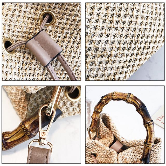 Summer Woven Drawstring Straw Bucket Bag