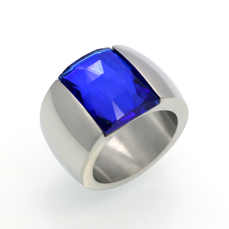 Fashion Brand Stainless Steel Ring For Women Austrian Crystal Blue Green Red Stone Ring Gold Color Female Wedding Ring  Band 4