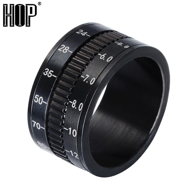 HIP Hot Sell Rotate Camera Men Ring Black Unique 12mm Width Stainless Steel Midd
