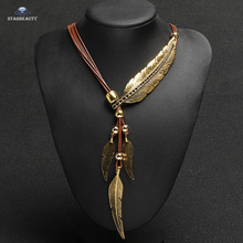 Starbeauty Brand Popular Leather Necklace Big Luxury Feather Statement Pendant Necklace Vintage Maxi Necklaces Women Accessories