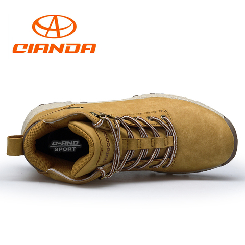 QIANDA Profession Men Mountain Hiking Shoes Winter Climbing Lace-up Leather Waterproof Outdoor Trekking Boots Brand Sneakers Man Lahore