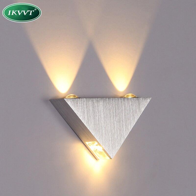 Современные светодиодные лампы на стенах 3 Вт Алюминий Средства ухода за кожей Треугольники настенный светильник для Спальня дома Освещение светильник Ванная комната светильник настенный