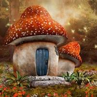 DIY5D Diamond Stitch Embroidery The Lovely Cartoon Series Two Works Of Art House Mushroom Cut Diamonds