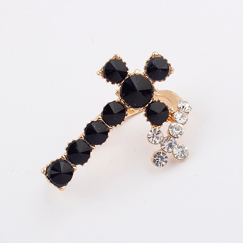 Two finger black crystal cross ring coupon 2014 for woman and man CR017