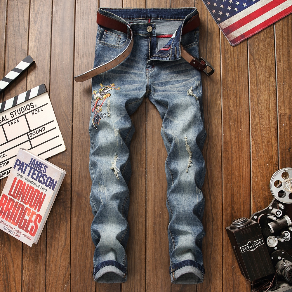 2019 Men Stretchy Ripped Jeans Skinny Biker Embroidery Print Hole Taped Slim Fit Denim Scratched High Quality Jeans plus size in Jeans from Men 39 s Clothing