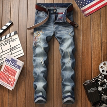 2019 Men Stretchy Ripped Jeans Skinny Biker Embroidery Print Hole Taped Slim Fit Denim Scratched High Quality Jeans plus size