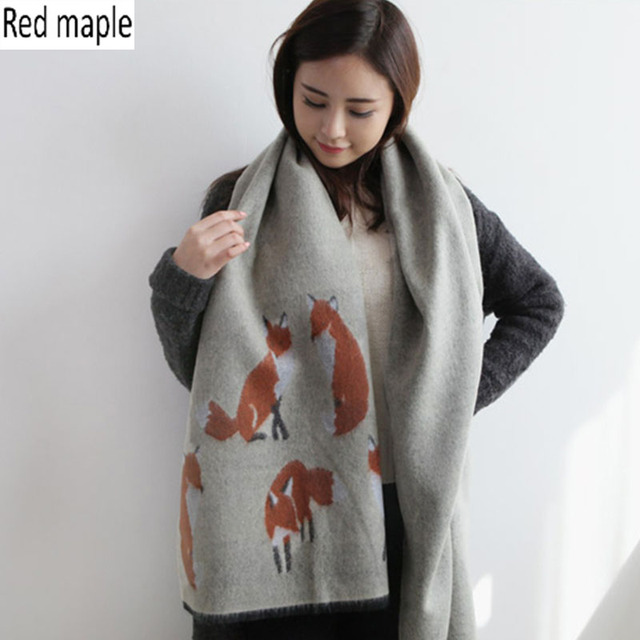 Red maple Cartoon Fox Blanket Scarf Women Thick Imitation Cashmere Shawl Autumn&Winter Ladies Scarves Fashion Ponchos And Capes