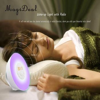Sunrise Alarm Clock LED FM Radio Bedside Night Lamp EU Plug Gift