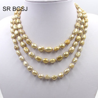 Free Shipping 100 inch Select by Color Women Boho Jewelry Pearl Beads Knot Sweater Necklace 7x9mm