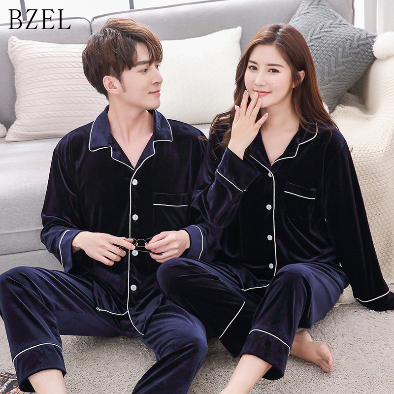 BZEL Velvet Couple Pajamas Set Turn-down Collar Long Sleeve Sleepwear Leisure Pajama For Male Lovers' Clothes Pyjamas Pijamas