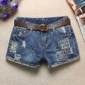 2016 verão novo jeans femininos calções usados skinning land grab azul lavado buraco punhos Shorts Sexy Hip Hop Patch mulheres Shorts Z2238