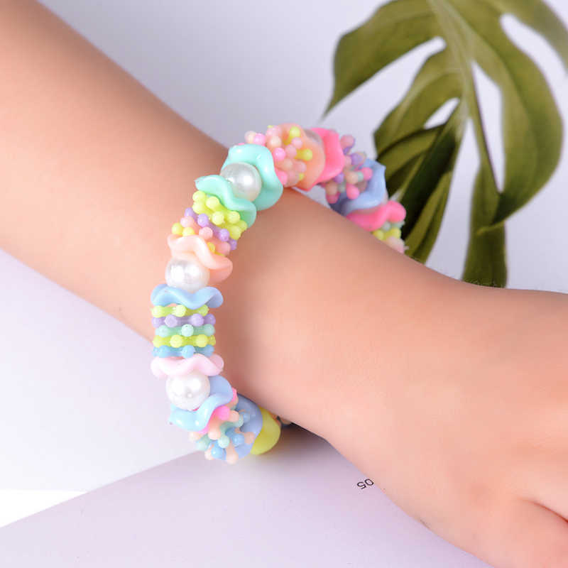SUKI Children Elastic Bracelet Kids Girl Colorful Acrylic Imitation Pearl Beaded Child Toy Bangle Bracelet Birthday Gift Jewelry