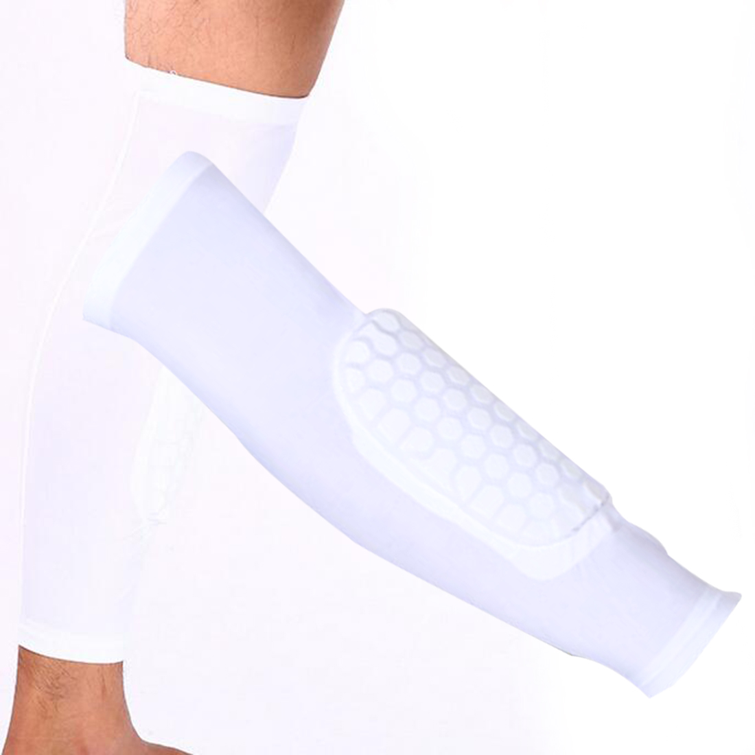 1Pc Breathable Sports Men Honeycomb Long Knee Support Brace Pad Protector Joelheira Sport Leg Sleeve Sports Knee Pad White