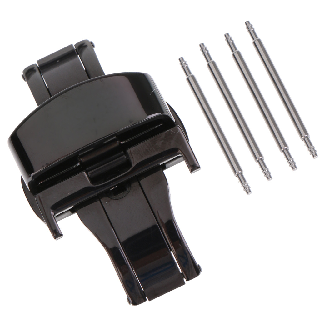 Stainless Steel Link Wrist Watch Band Kit Bracelet Strap Replacement Butterfly Watch Buckle Clasp 22mm m1 5 8 25mm 1pcs watch band spring bars strap link pins repair tool watchmaker stainless steel watch accessories kit set