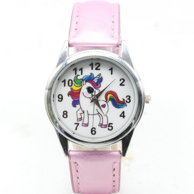 Cute Animal Unicorn Dial Leather Band Analog Alloy Kids Wrist Watch