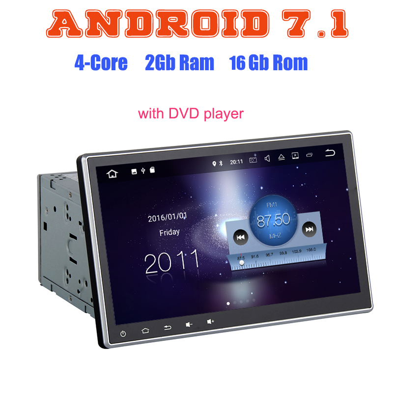 10.2 Inch Android 7.1 Quad Core 2 DIN Universal Car DVD Radio GPS player Audio rds 2G ram Head Unit Multimedia HDMI Stereo