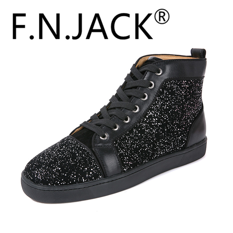 FNJACK Chaussures De Mode Strass Swarovski Suede Sneaker Salut-top - Chaussures pour hommes - Photo 2