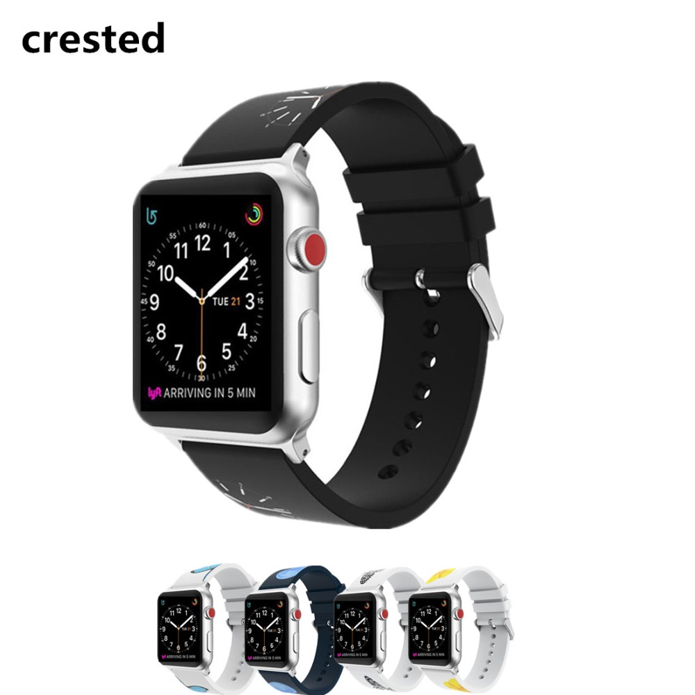 CRESTED Sport band for Apple Watch Bands 42mm 38mm iWatch 3/2/1 silicone strap Band rubber bracelet wrist Watch belt wristband crested new arrival colorful silicone strap for iwatch 1 2 apple watch nike 42mm rubber sport bracelet wrist band with adapter