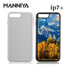 Manniya ブランク昇華 2 1 tpu + pc タフデュアルケースで iphone 7 プラス 8 プラスアルミインサート送料無料! 50 ピース/ロット