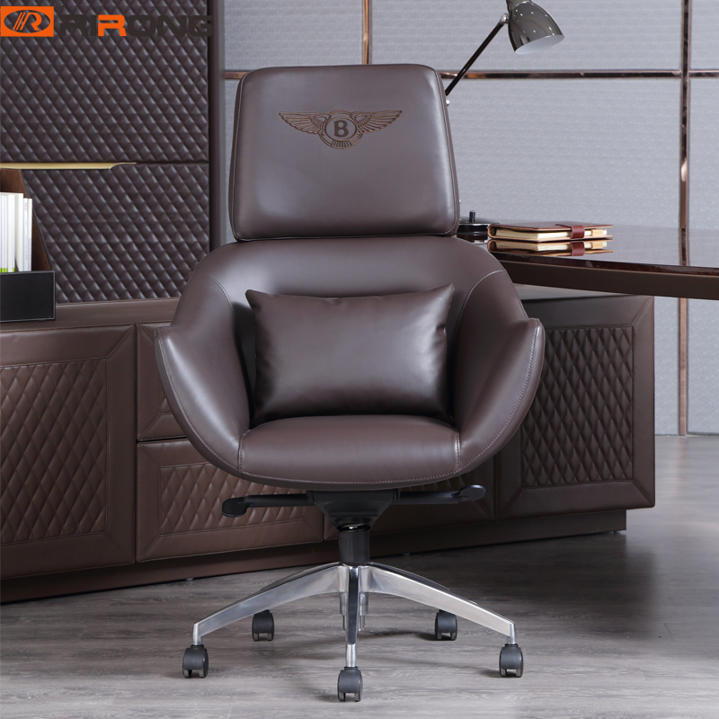 Luxury Brown Color Home Study Office Excutive Big Boss Manager Ceo Swivel Liftable Leather Chair With Wheel