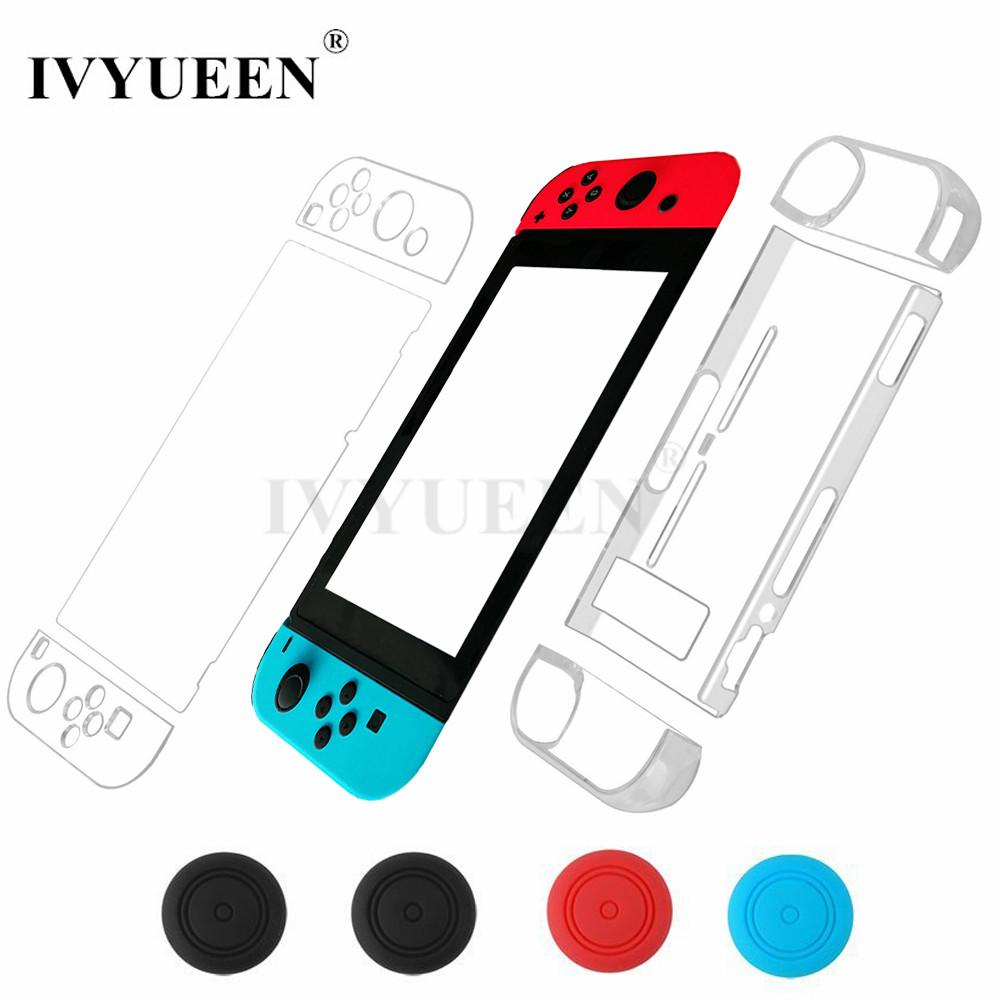 IVYUEEN for Nintend Switch NS Console for Joy-Con Crystal Clear Hard Back Shell Cover 9H Tempered Glass Screen Protector Film