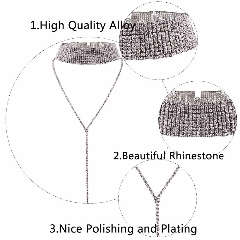 Rhinestone Crystal Luxury Choker Statement Necklace Jewelry 2