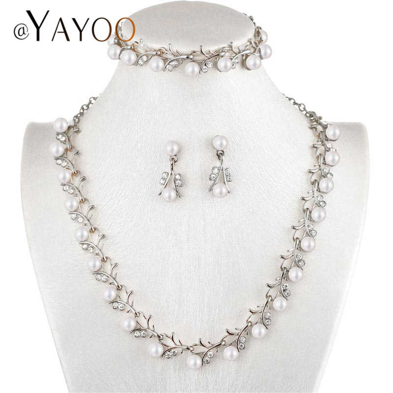 AYAYOO African Beads Jewelry Set Fashion Simulated Pearl Crystal Jewelry Sets For Women Wedding Accessories Jewelery Costume