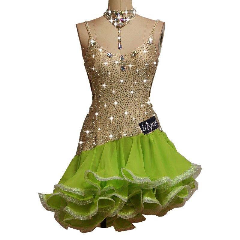 Strass scintillants Sexy dames robe de danse latine femmes salle de bal robes de compétition de danse latine Salsa gland jupe robe Samba